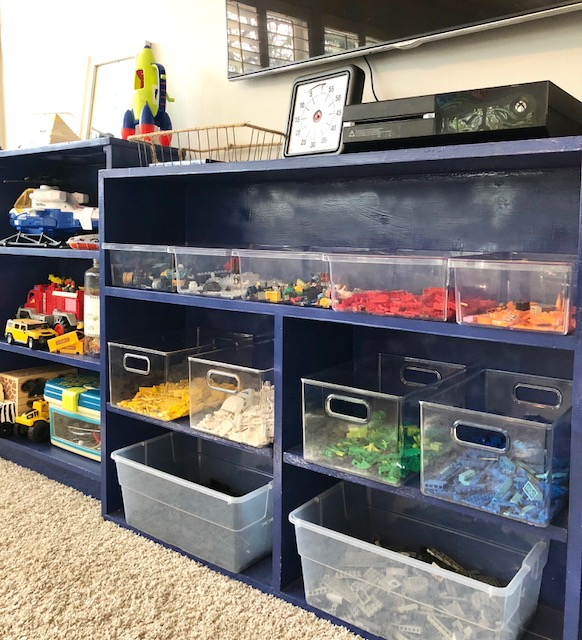 Color coded Lego organization www.blueprintorganizing.com